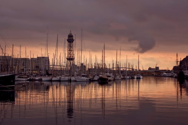 Blue Hour At The Port Vell Web