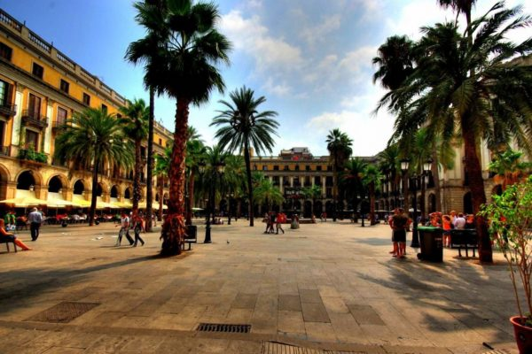 Sunny View Of Placa Real Barcelona