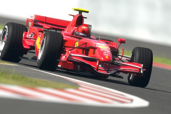 Behind the wheel of the car on the track Ferrari Formula 1