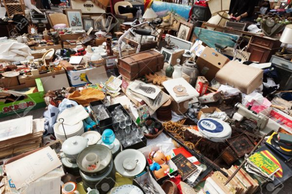 21901060 BARCELONA SPAIN JUNE 26 Old Things At Encants Vells Flea Market At Glories Catalanes Square In June—Stock Photo