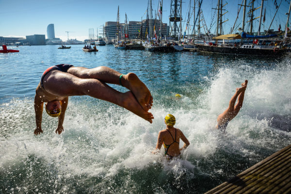 Mass swim in the port of Barcelona