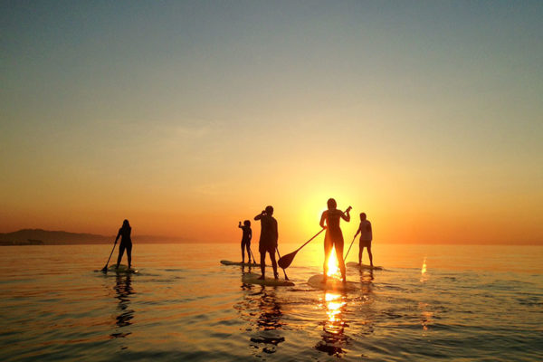 Standup paddleboarding in Barcelona